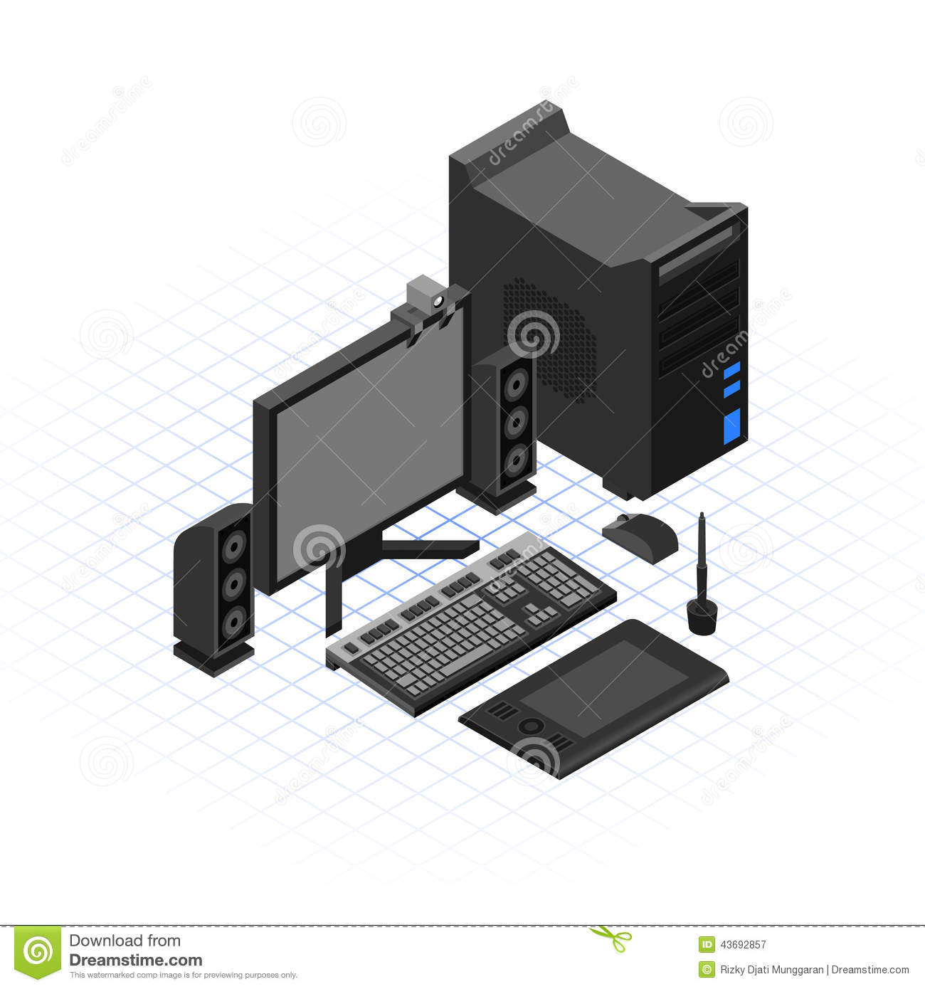 Isometric Computer Set Vector Illustration Stock