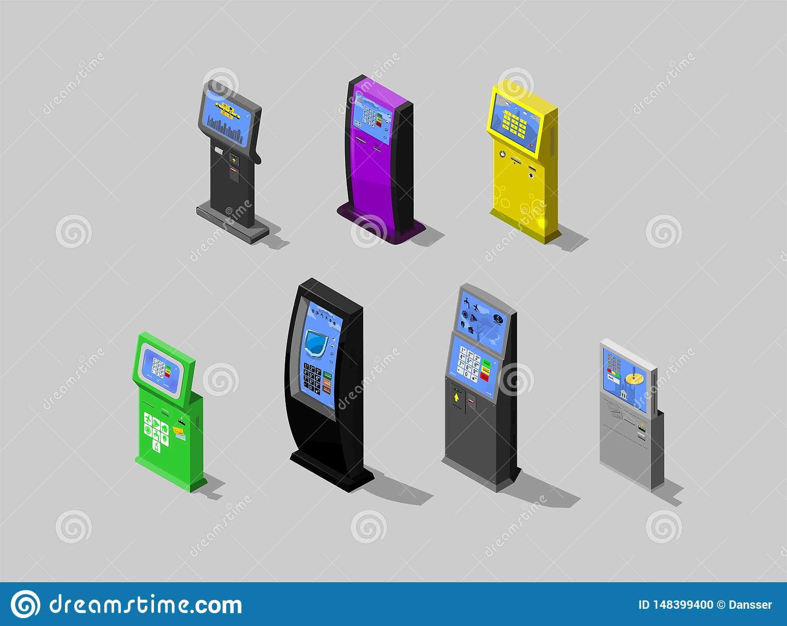 Isometric Concept Of Payment Terminal, Interactive Kiosk