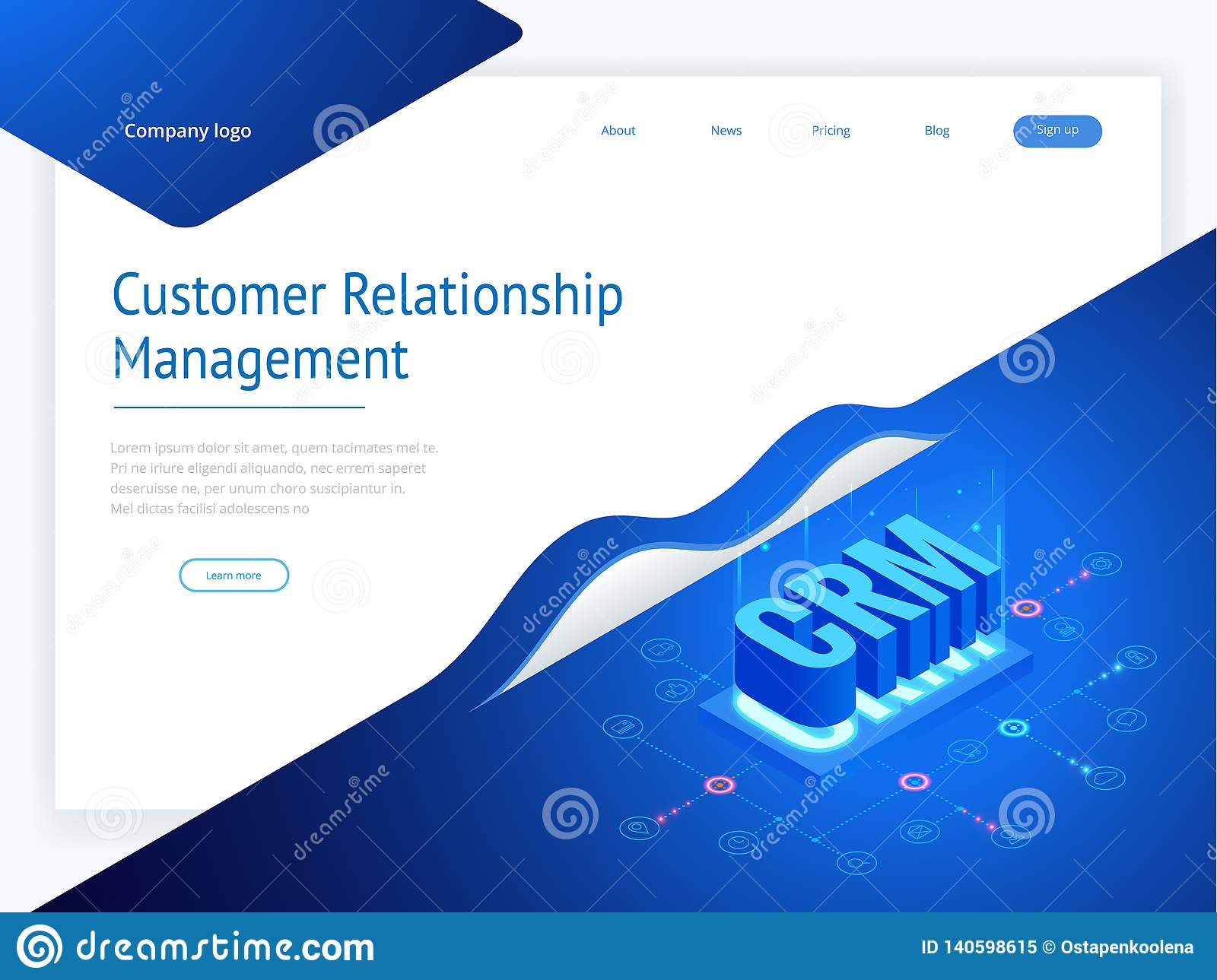 Isometric CRM Web Banner  Customer Relationship Management