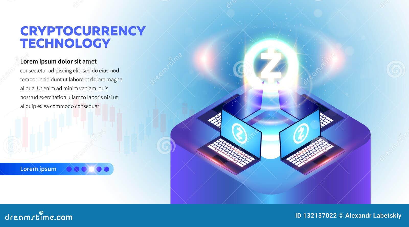 Isometric Cryptocurrency sztandar
