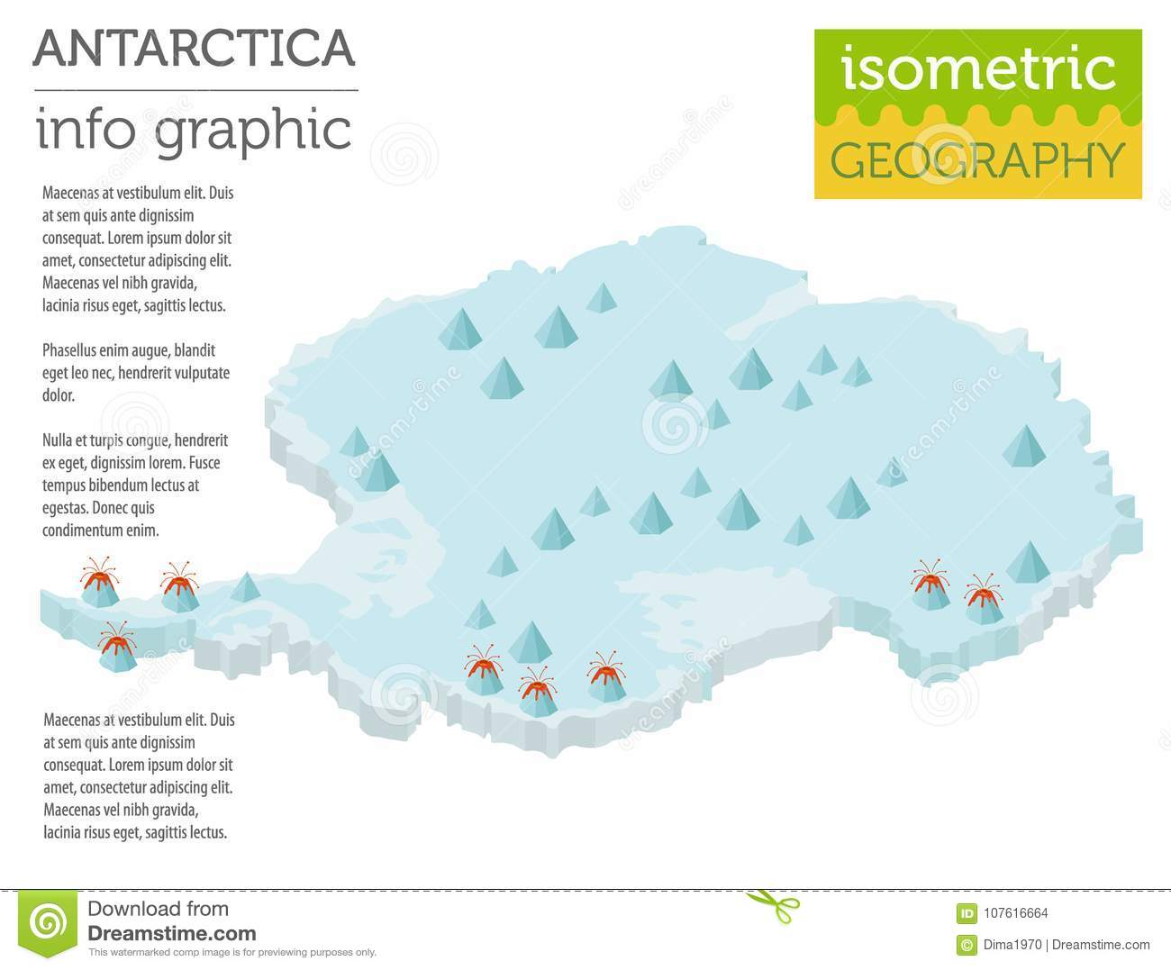 Isometric 3d Antarctica Physical Map Elements. Build Your ...