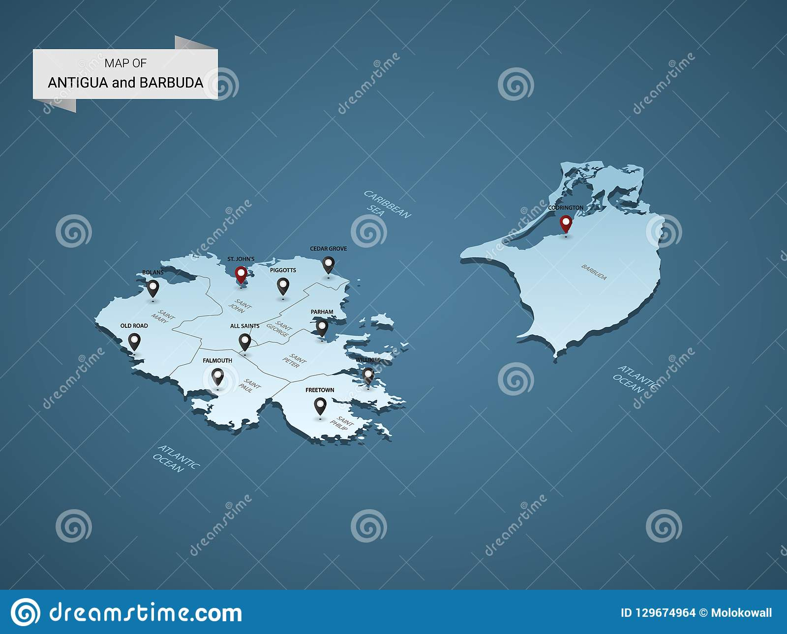 Isometric 3D Antigua And Barbuda Vector Map Concept. Stock ...