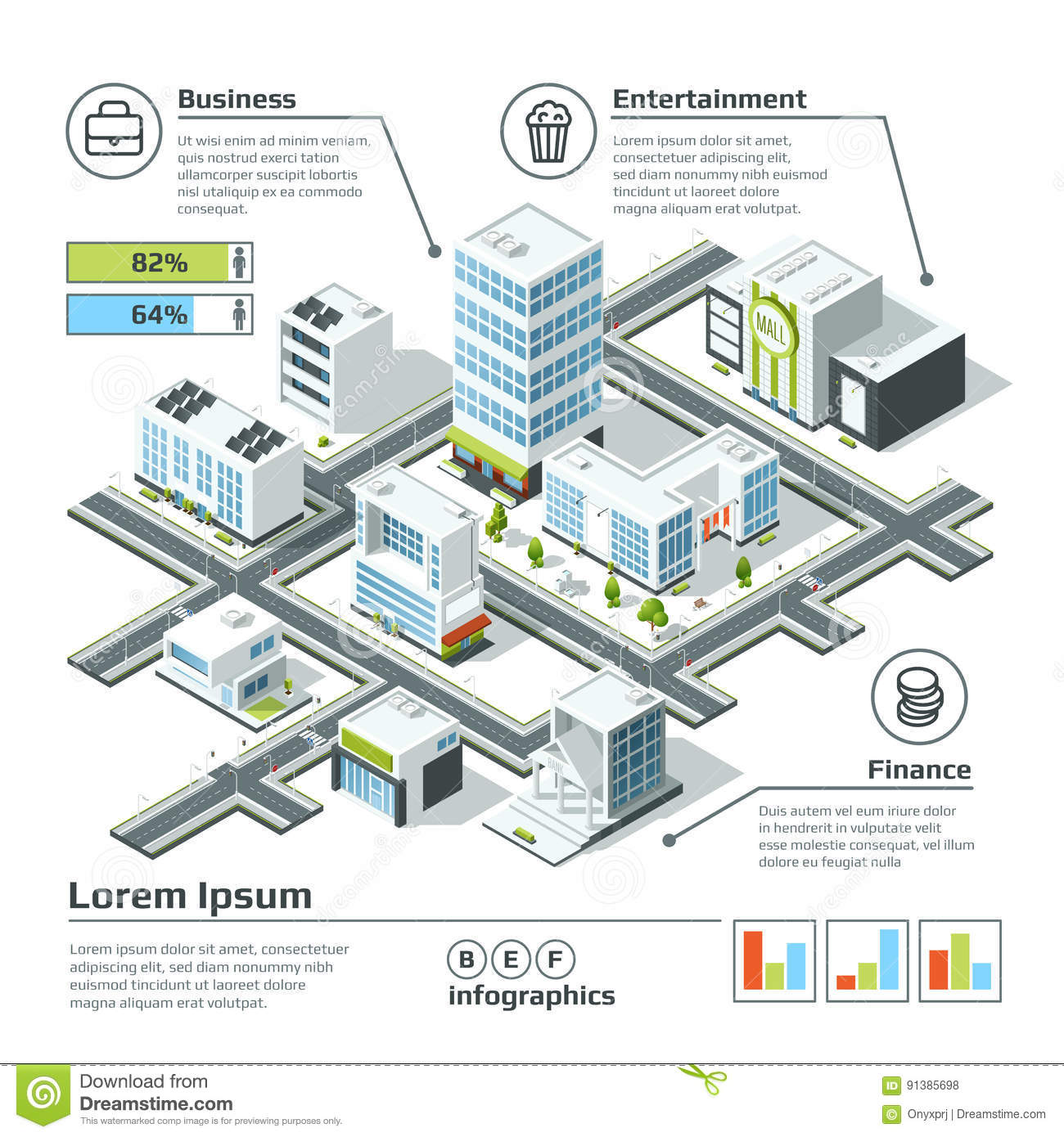 Home Design 3d Map: Isometric 3d City Map. Infographic Vector Illustration