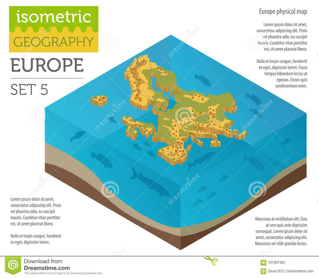 Image of: Isometric 3d Europe Physical Map Constructor Elements On The Water Surface Build Your Own Geography Infographics Collection Stock Vector Illustration Of Atlas Mediterranean 101947581