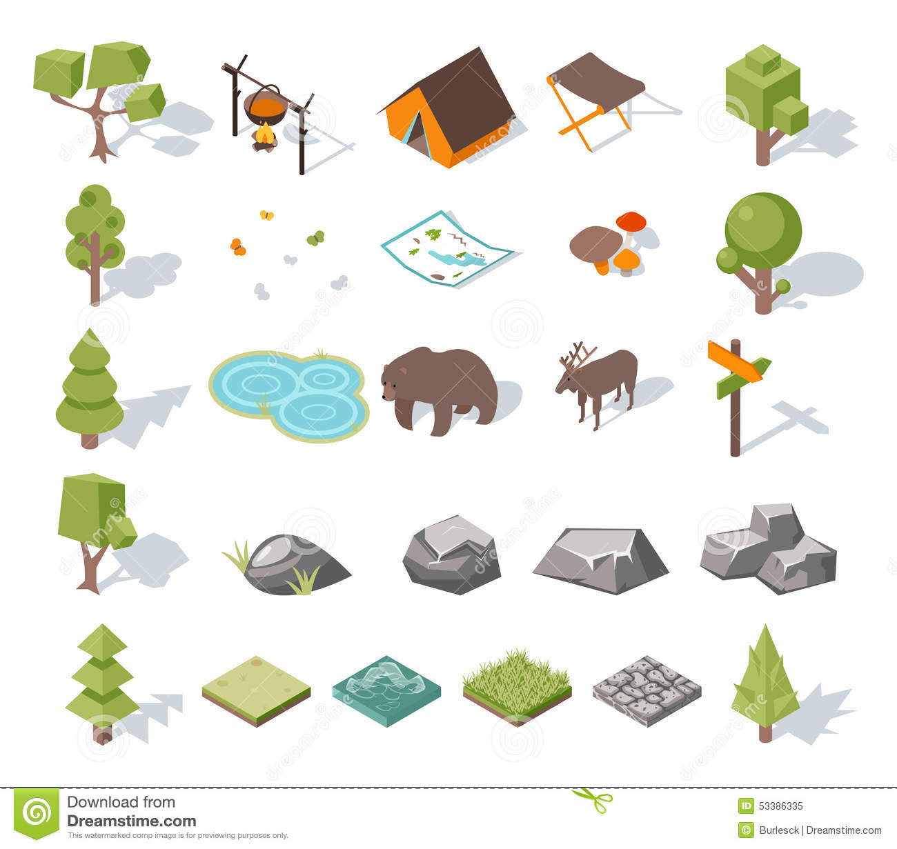 Isometric 3d forest camping elements for landscape stock for Garden design elements