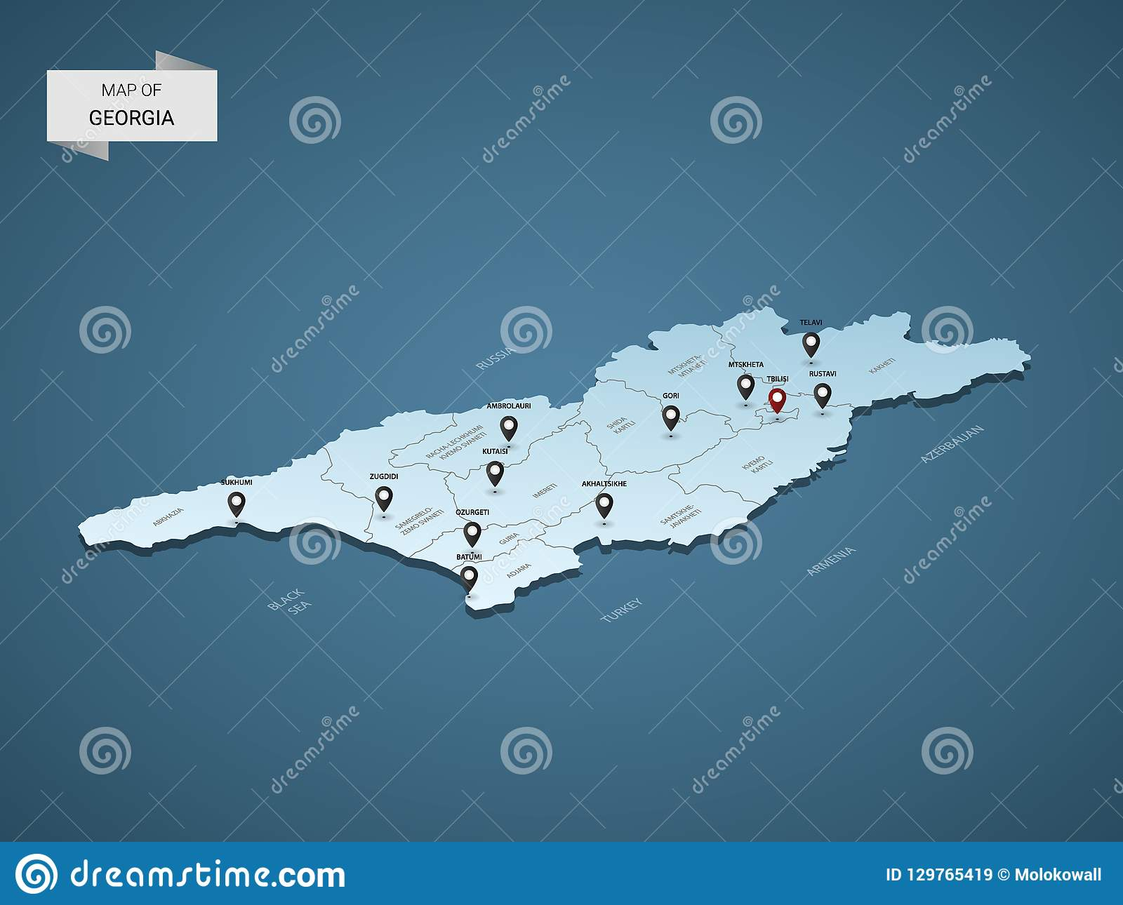 Map Of Georgia With Capital.Isometric 3d Georgia Vector Map Concept Stock Vector Illustration