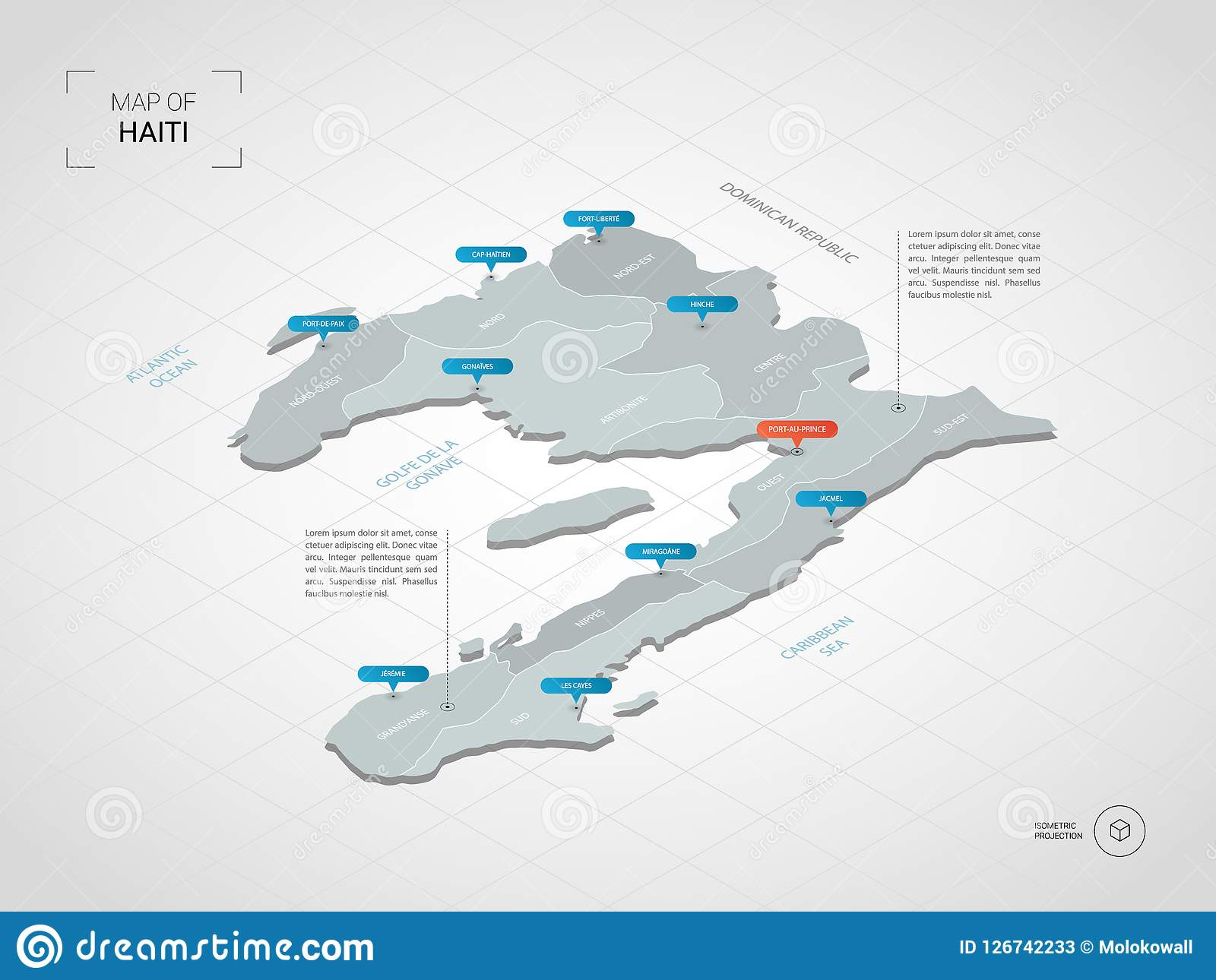 Isometric Haiti Map With City Names And Administrative Divisions ...