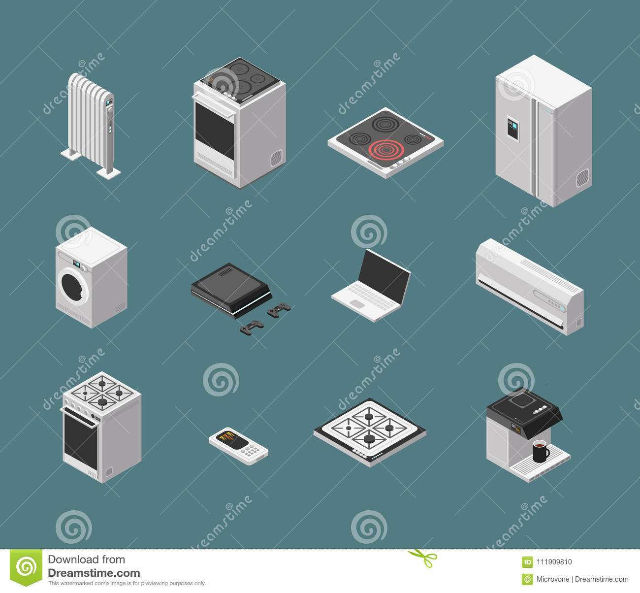 Isometric 3d Household Kitchen Appliance And Electrical Equipment ...