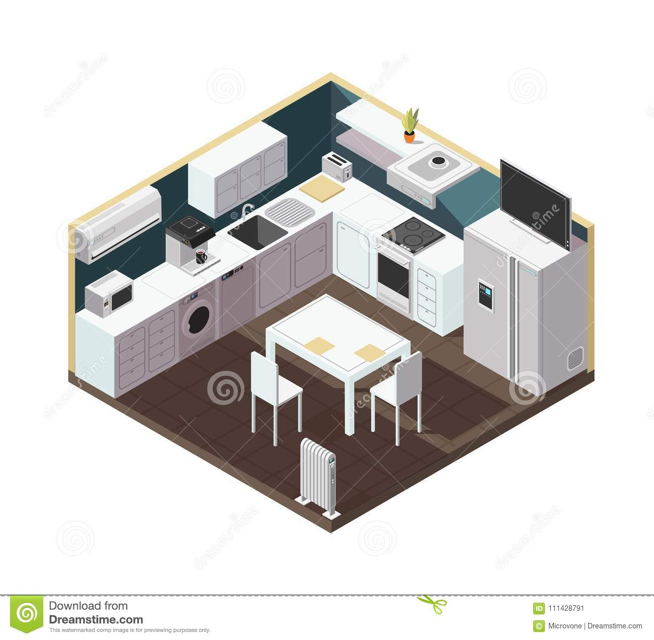 Isometric 3d Kitchen Interior With Household Appliance Equipment