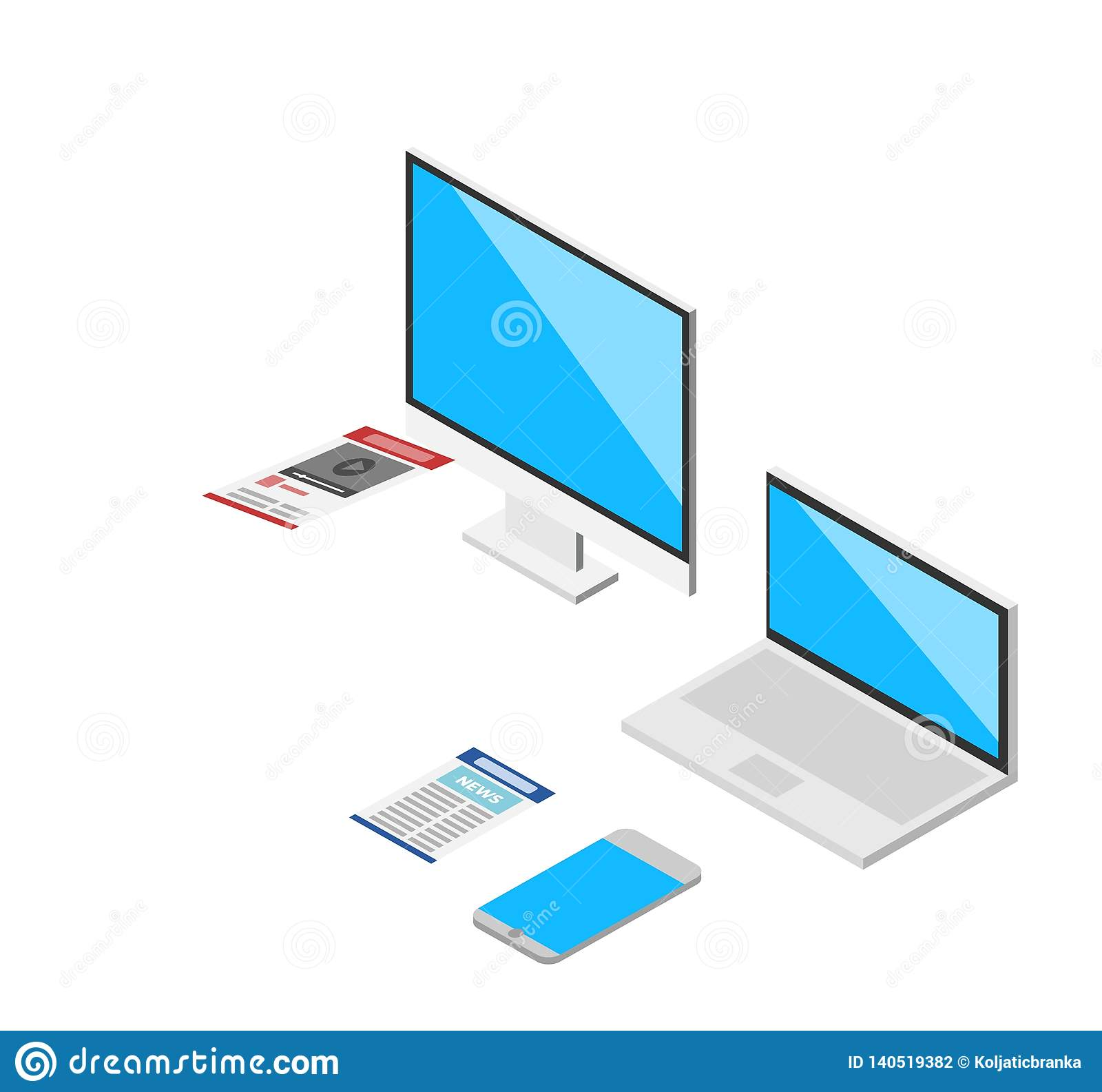 Isometric 3d laptop, tablet, smartphone, computer screen responsive web design vector elements.