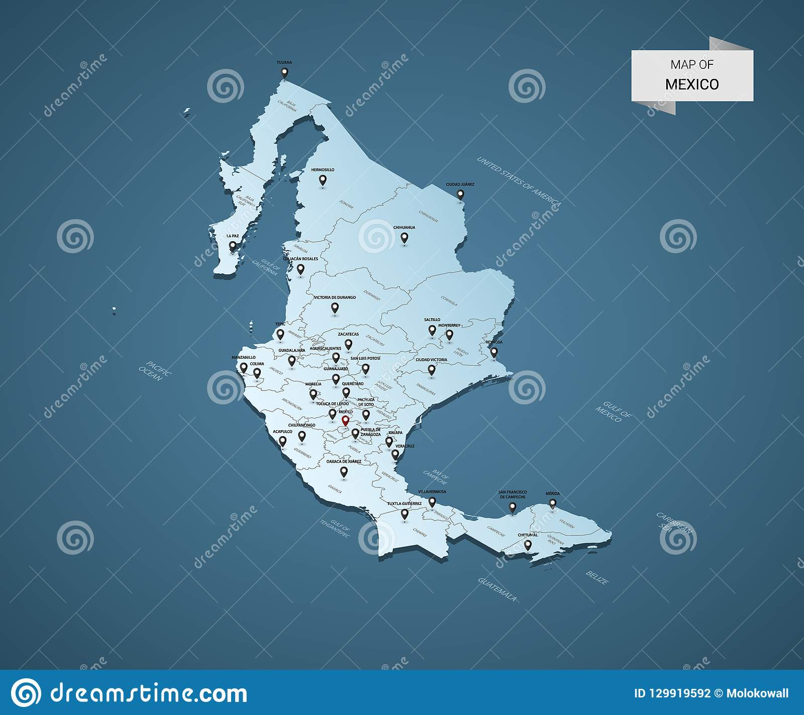 Isometric 3D Mexico Vector Map Concept. Stock Vector - Illustration ...