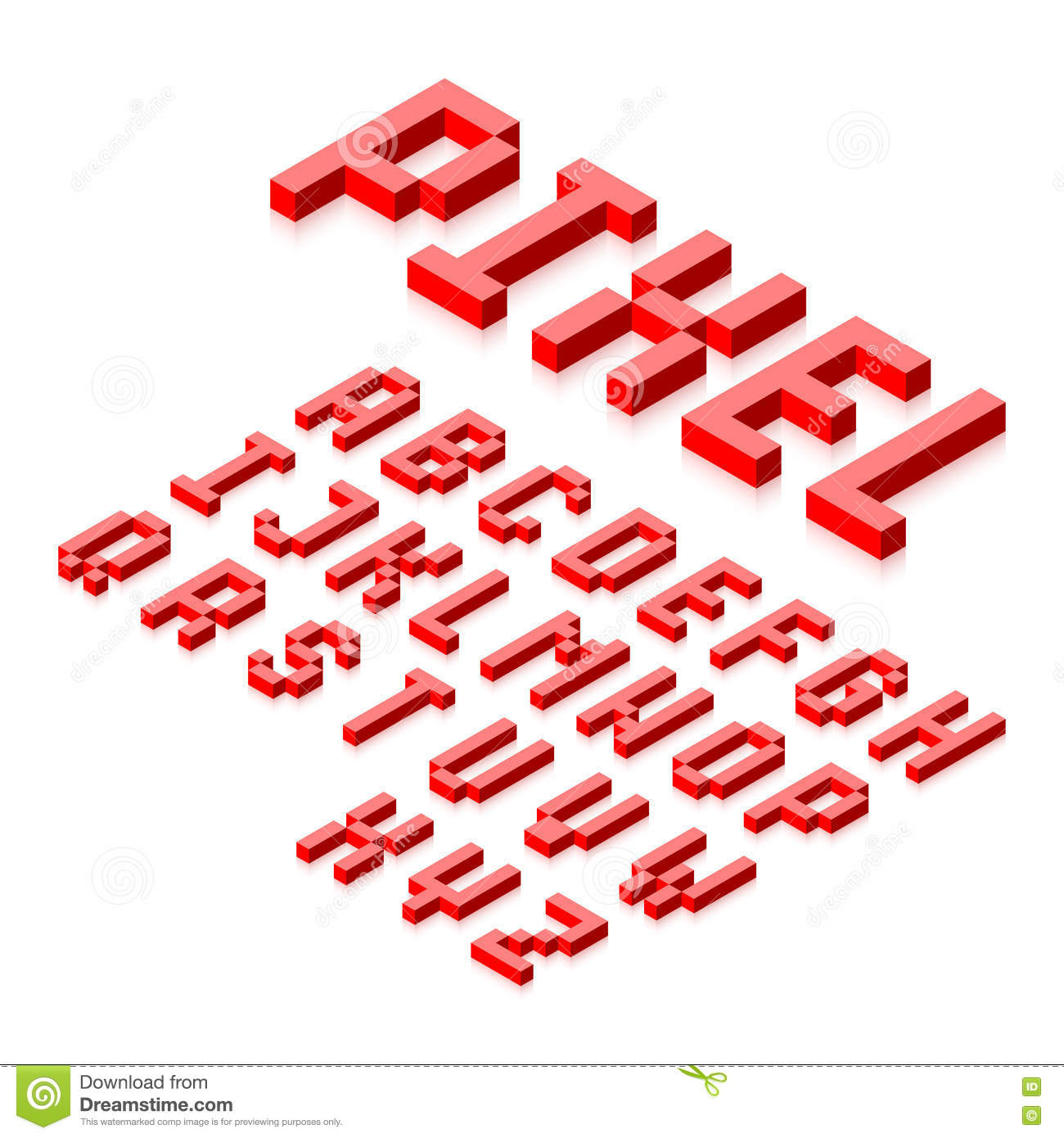 Isometric 3d Pixel Font Stock Vector. Illustration Of Sign
