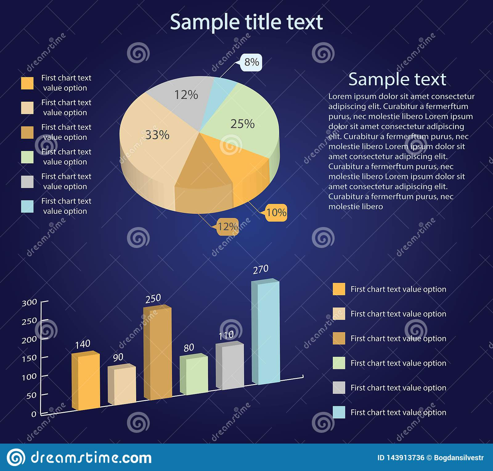 Isometric 3d vector charts. Pie chart and bar chart. Infographic presentation