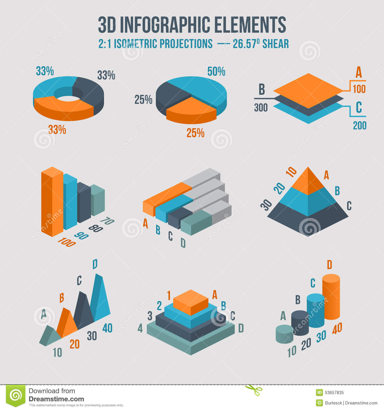 Isometric 3d Vector Sign Pie And Donut Chart Stock Vector