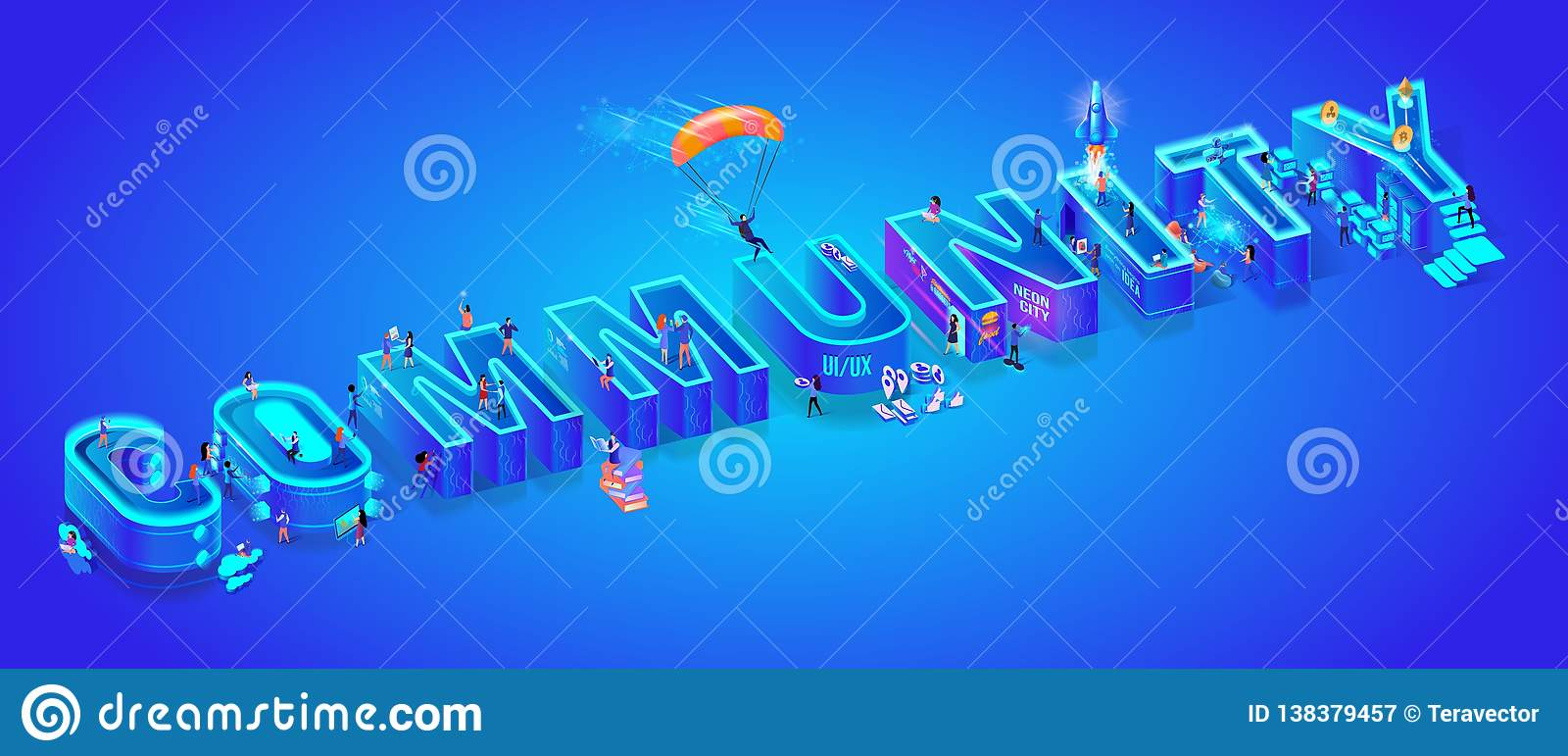 Isometric 3d Vector Word Community. Huge Letters