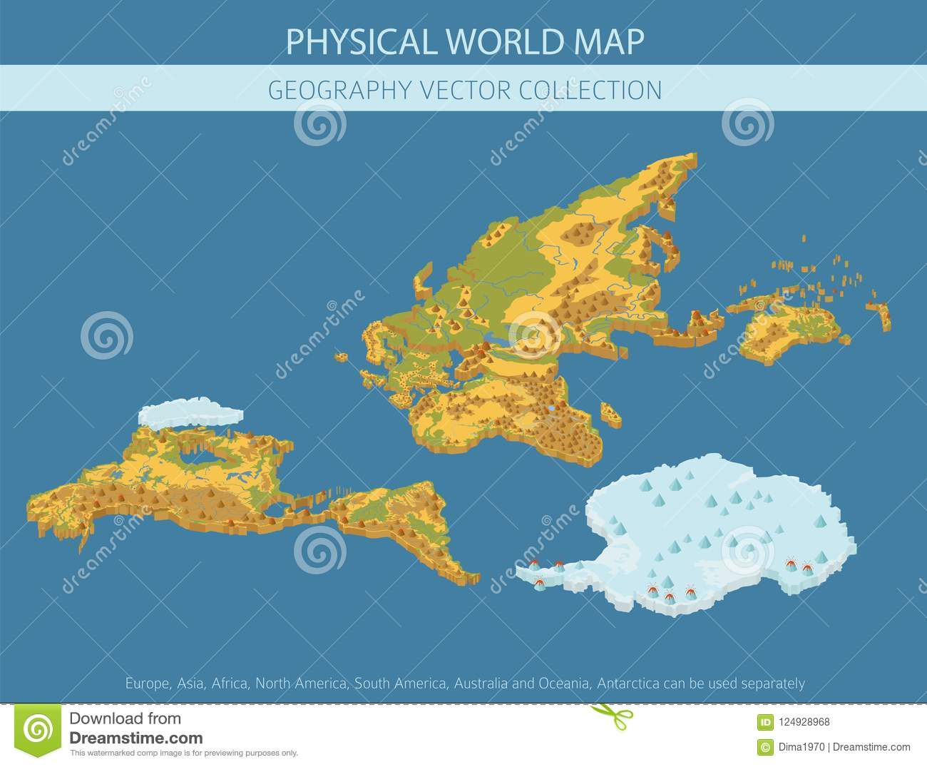 Isometric 3d World Map Elements  Build Your Own Geography