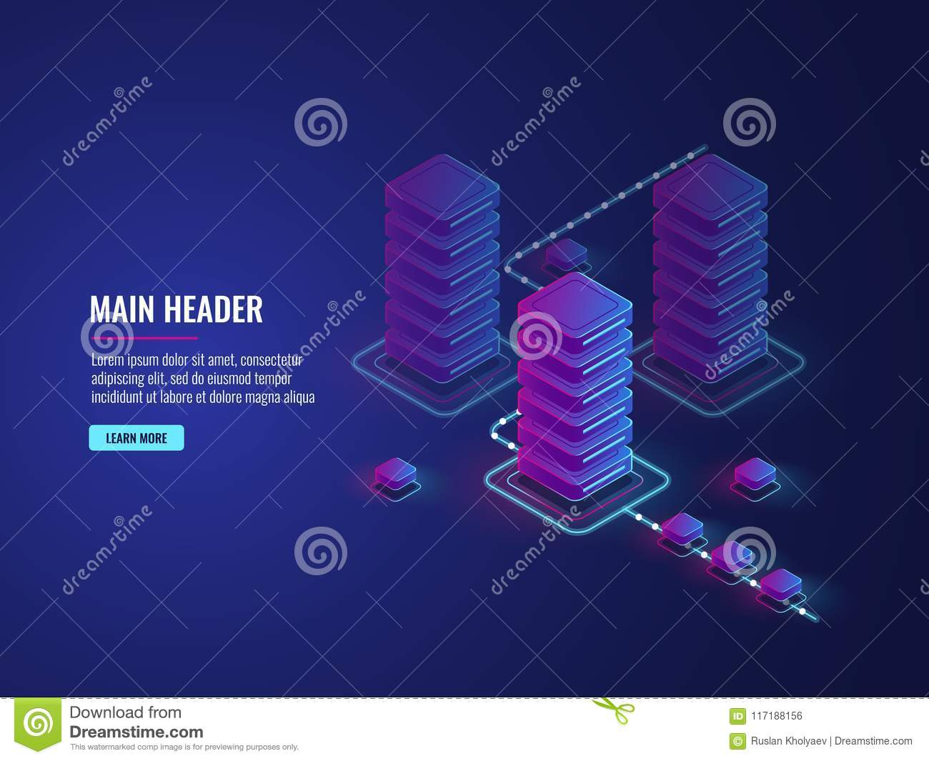 Isometric data flow processing, data protection and encryption process, server room, data center and database
