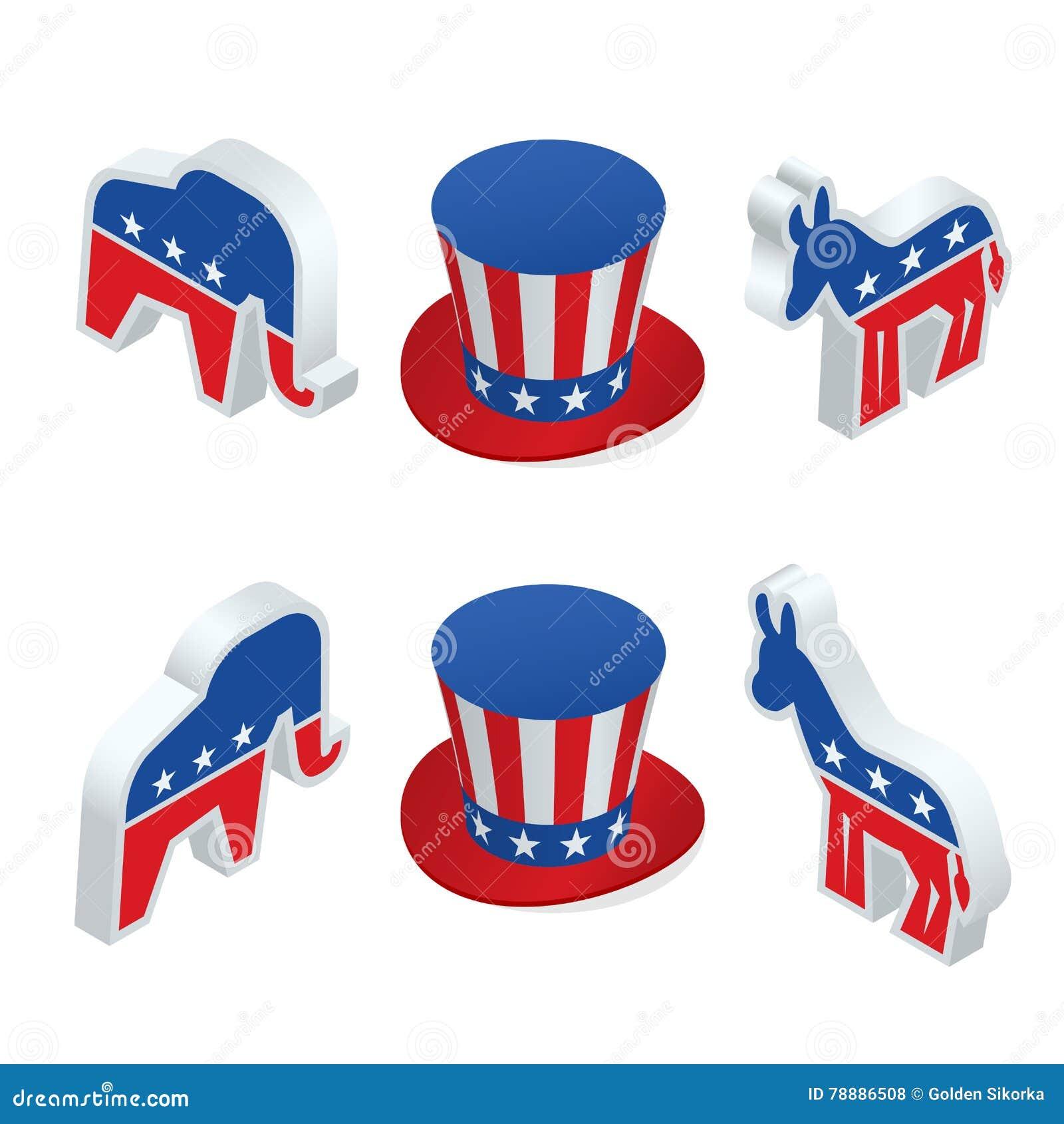 isometric democrat donkey and the republican elephant stock vector