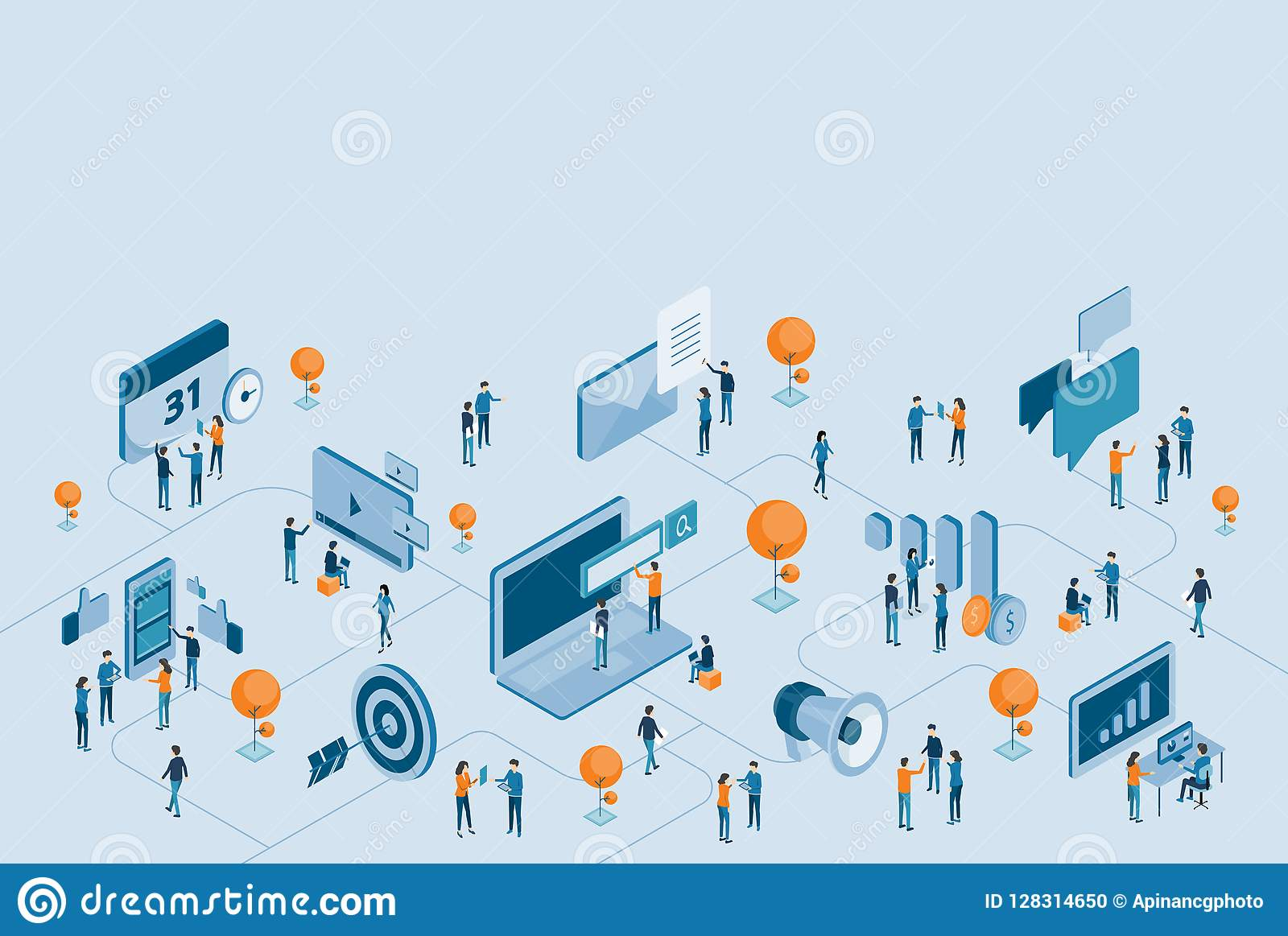 Isometric design for business digital marketing online connection
