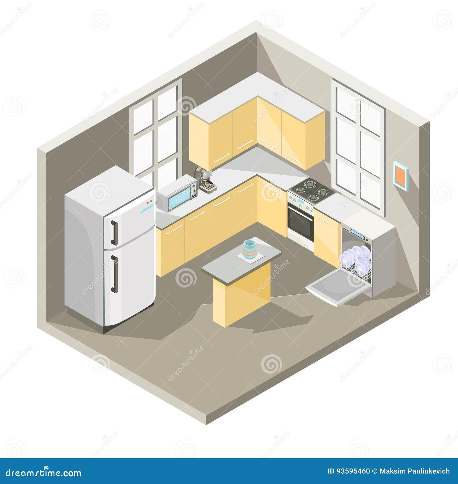 Free Online 3d Kitchen Design Tool: Isometric Design Of A Kitchen Stock Illustration