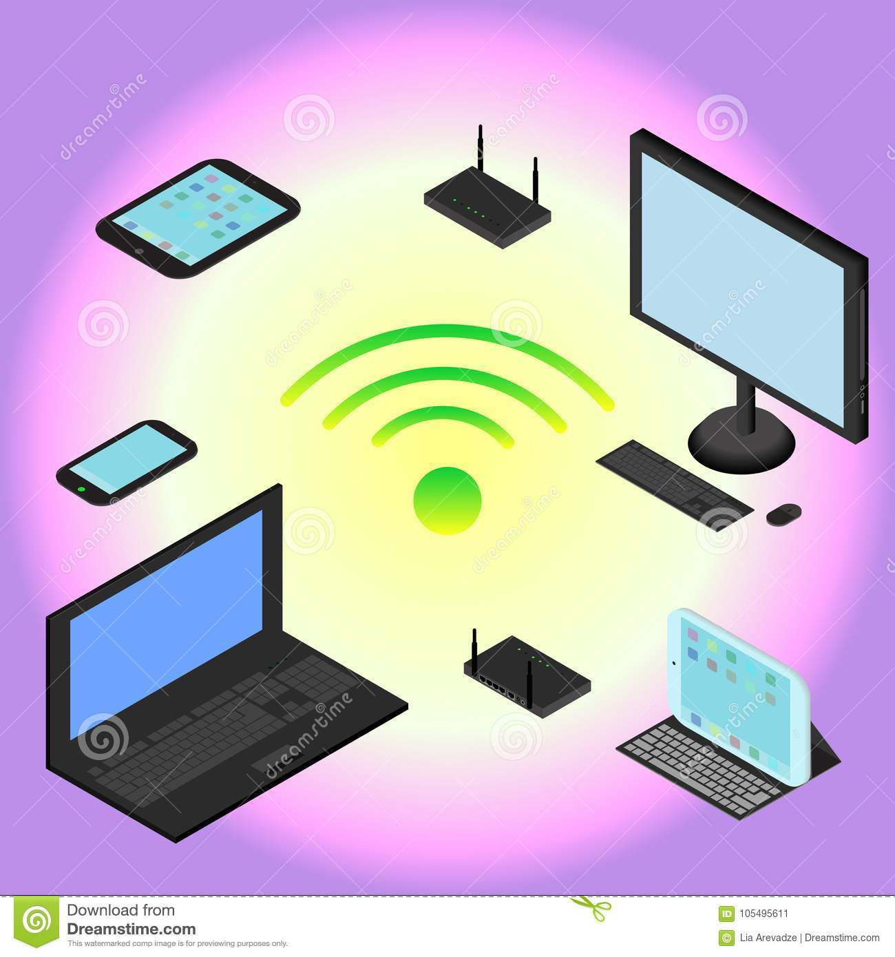 Isometric devices laptop smartphone tablet computer modem isometric devices laptop smartphone tablet computer modem and router wi fi network in vector keyboard keysfo Image collections