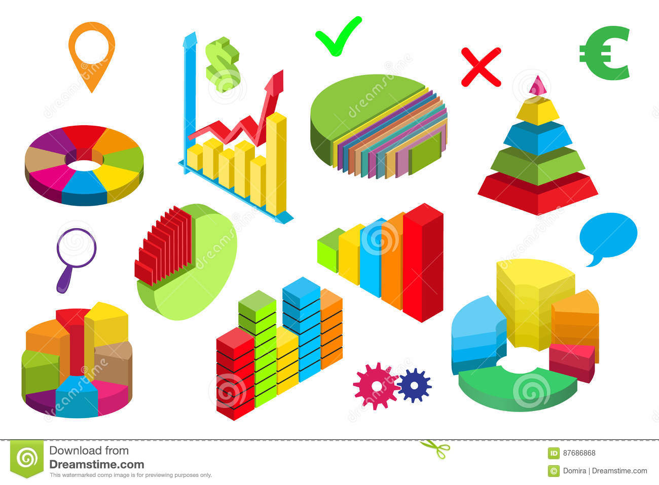 Isometric Diagrams Graphs Icons Pyramid Pie Charts Vector Stock Diagram The Purpose Of An Is To