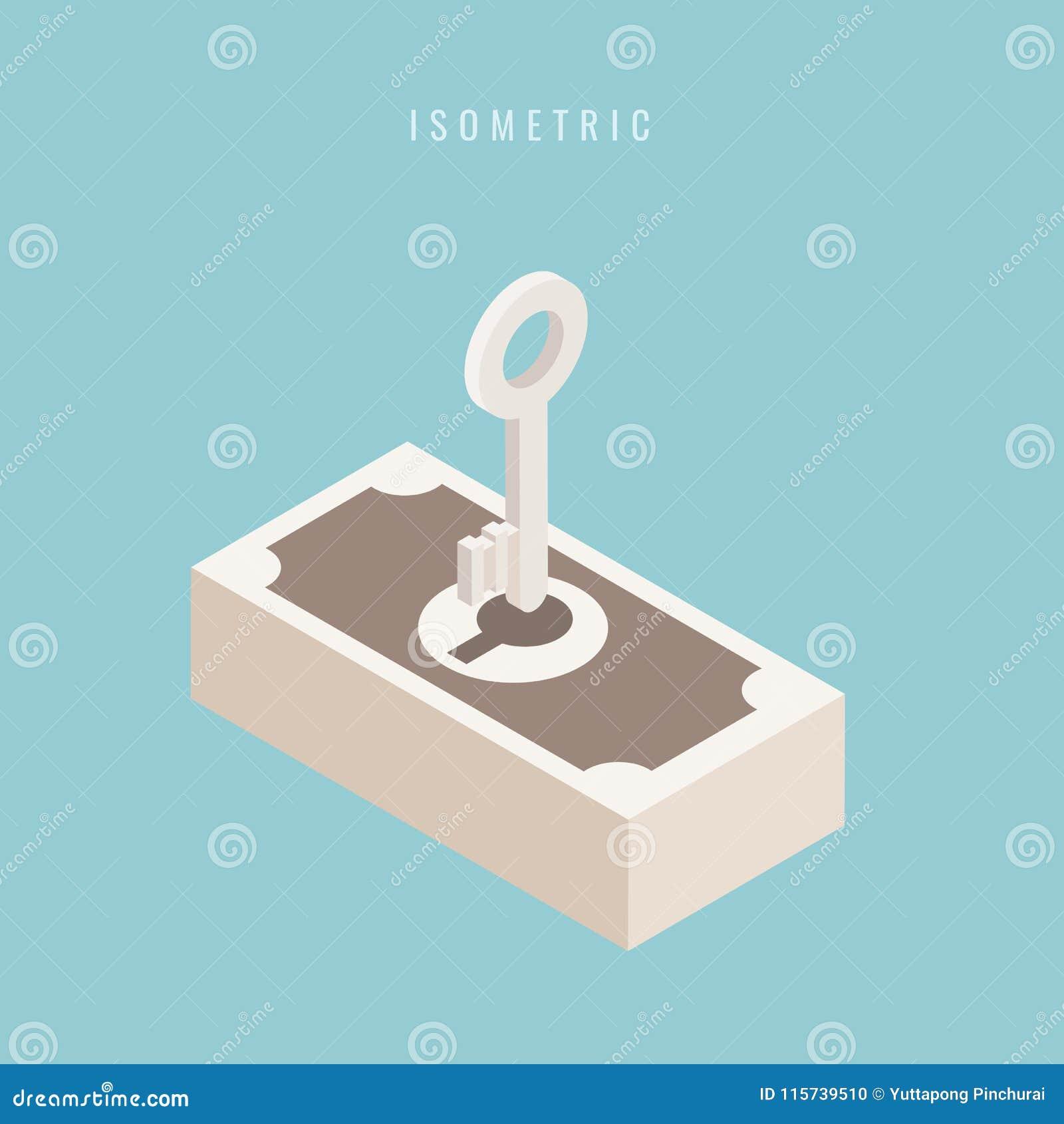 Isometric Dinheiro chave Sucesso chave 3d Ilustração do vetor em b