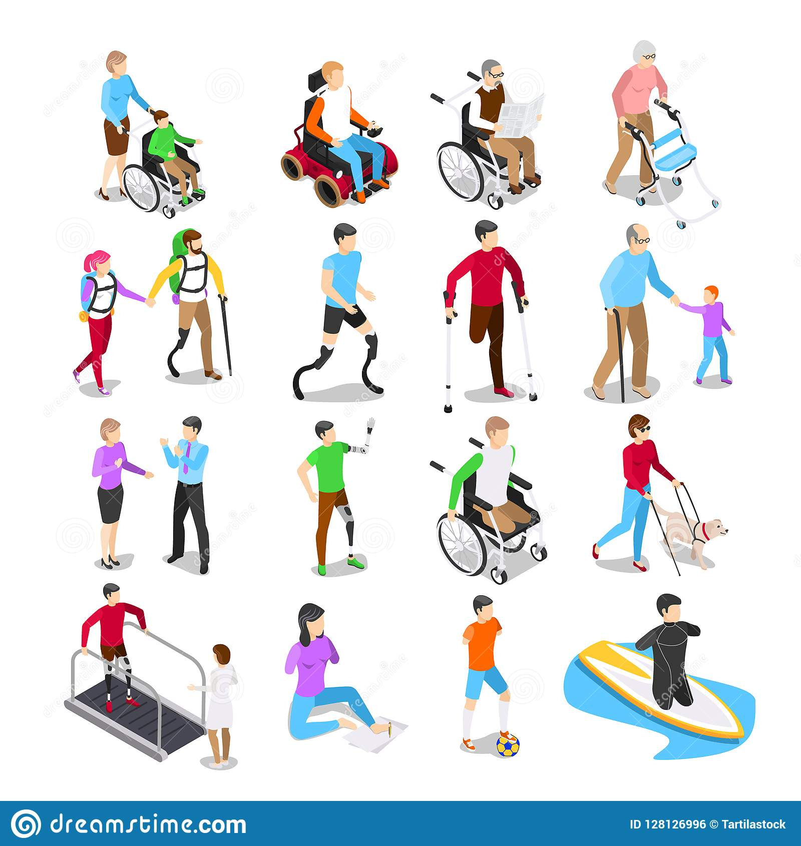 Isometric Exercises For Seniors: Physiotherapy Rehabilitation Color Icons Vector
