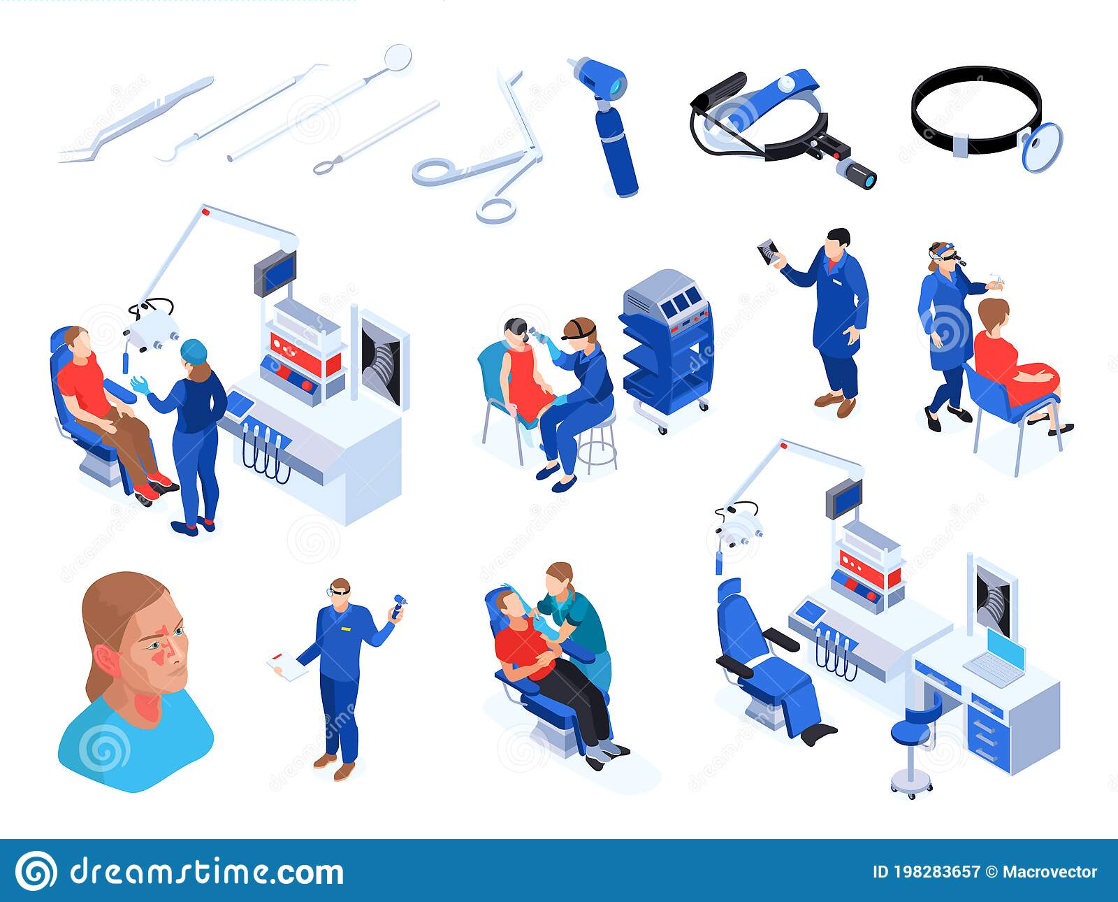 Ent Specialist Icon Set Stock Vector Illustration Of Issue 198283657