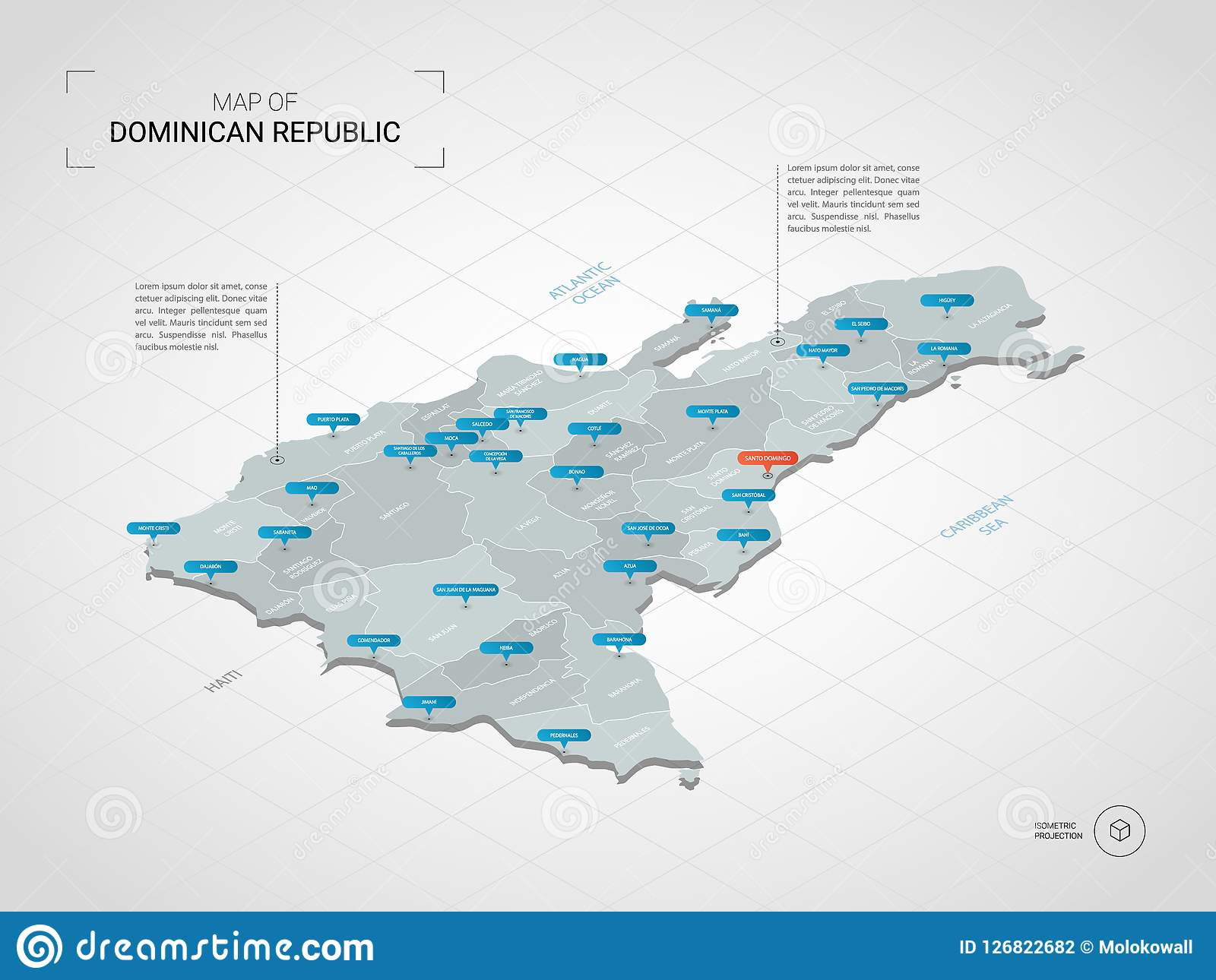 Isometric Dominican Republic Map With City Names And ...