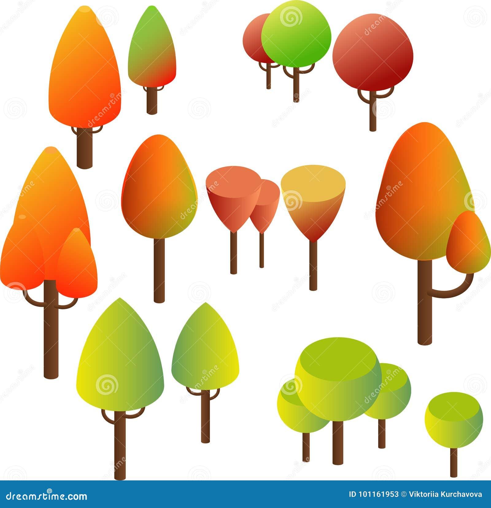Isometric drzewa, krzaki Lata zielony i Żółty jesieni ulistnienie