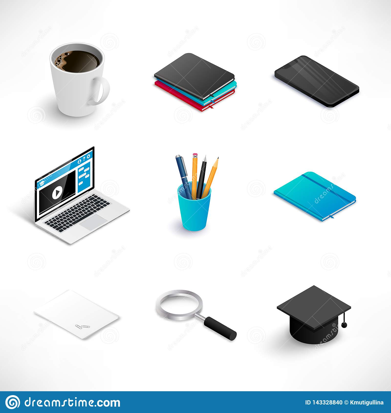 Isometric education icon set medium
