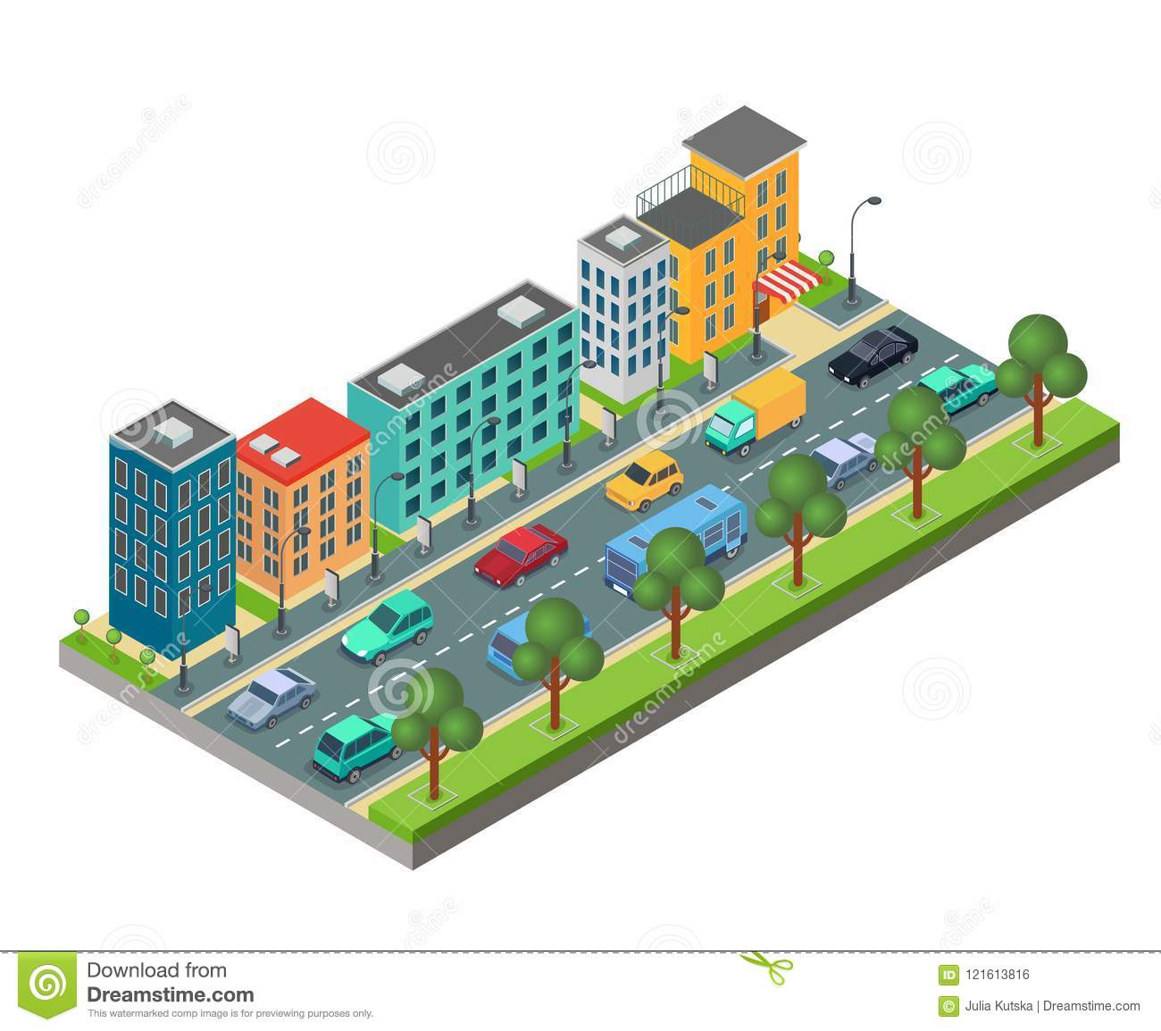 Isometric element of city road with buildings and cars in traffic jam isolated on white background.