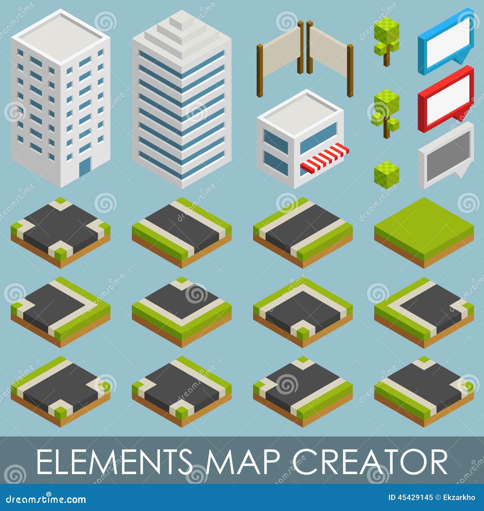 Isometric Elements Map Creator Stock Vector Image 45429145