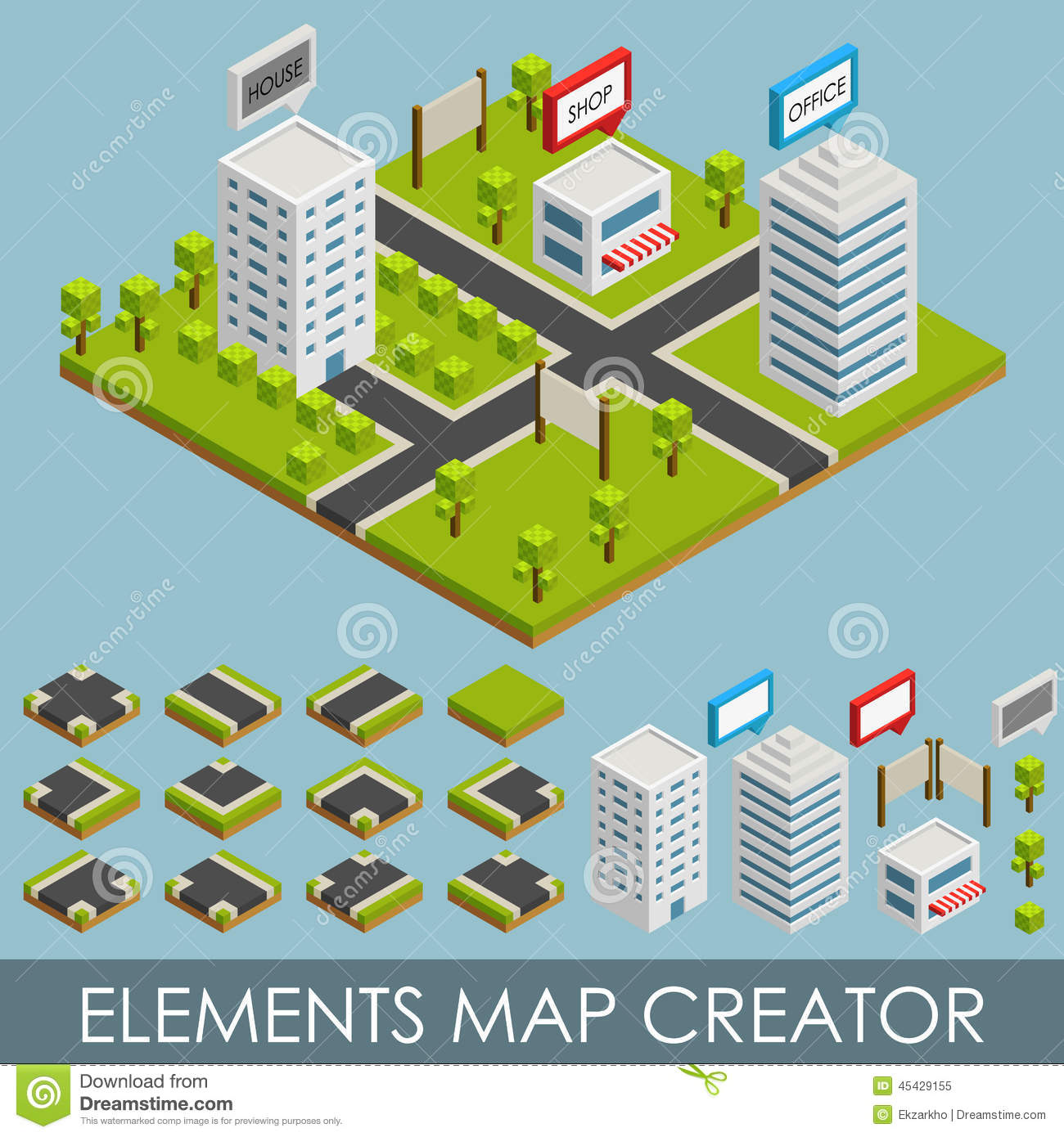 Isometric Elements Map Creator Stock Vector Image 45429155