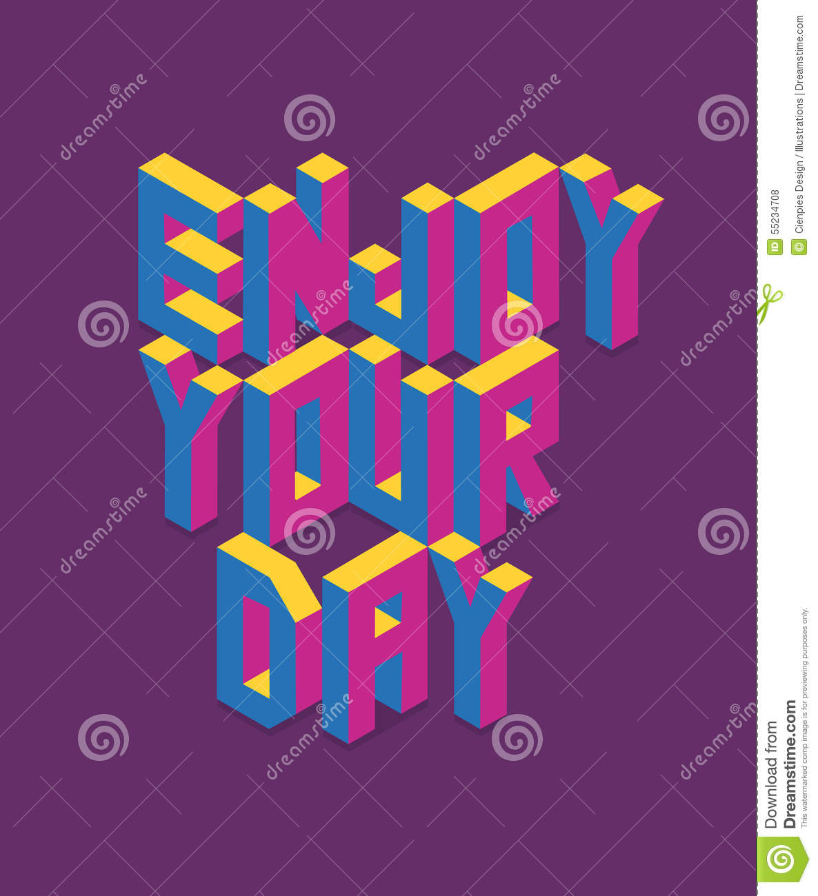 isometric enjoy your day quote illustration stock vector