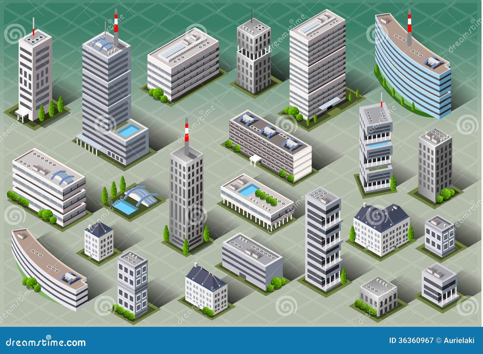Isometric European Buildings