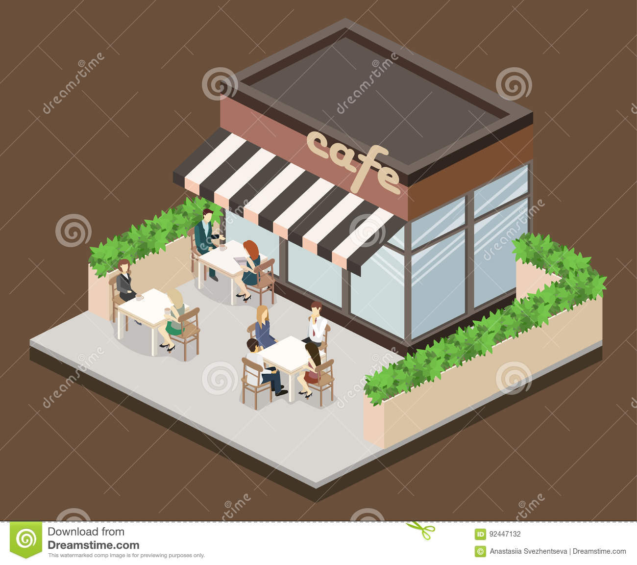 Beautiful Isometric Exterior Of Coffee Shop Or Sweet Shop.