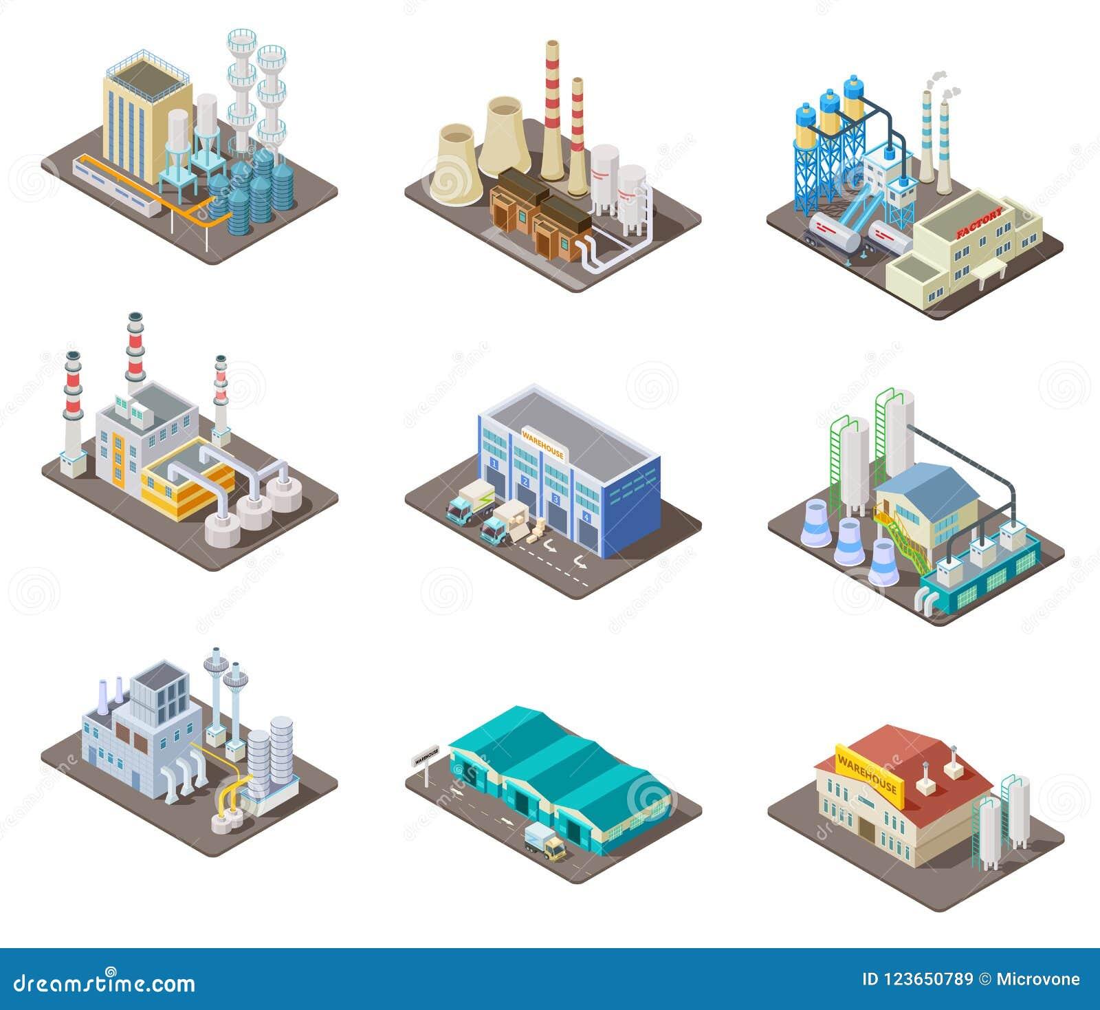 Isometric fabryka set 3d przemysłowi budynki, elektrownia i magazyn, Odosobniona wektorowa kolekcja