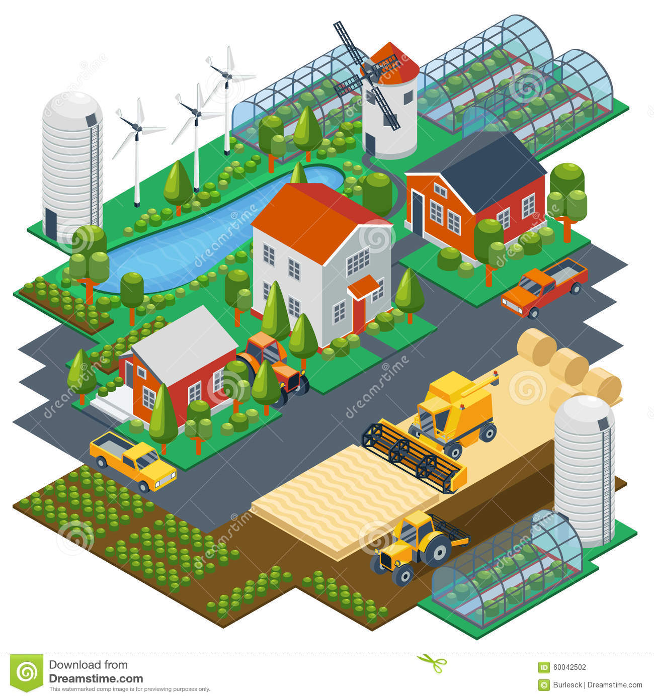 Isometric Farm Scene  Village Setting With Stock Vector