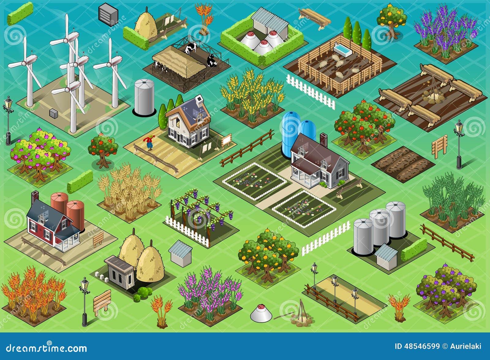 Isometric Farm Set Tiles stock vector  Illustration of silos