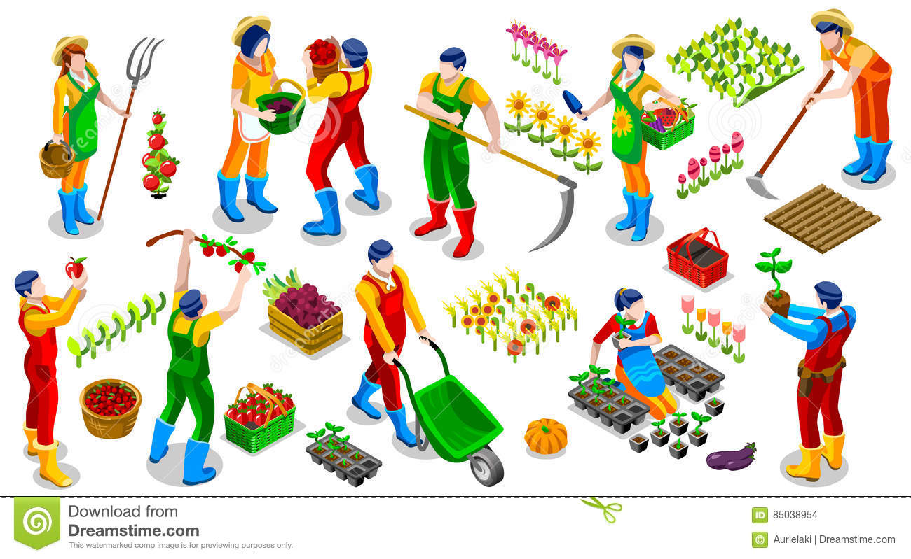 Isometric farmer people 3d icon collection vector for Gardening tools in hindi