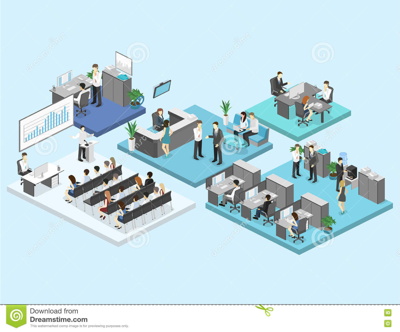 Isometric flat 3d abstract office floor interior departments concept .