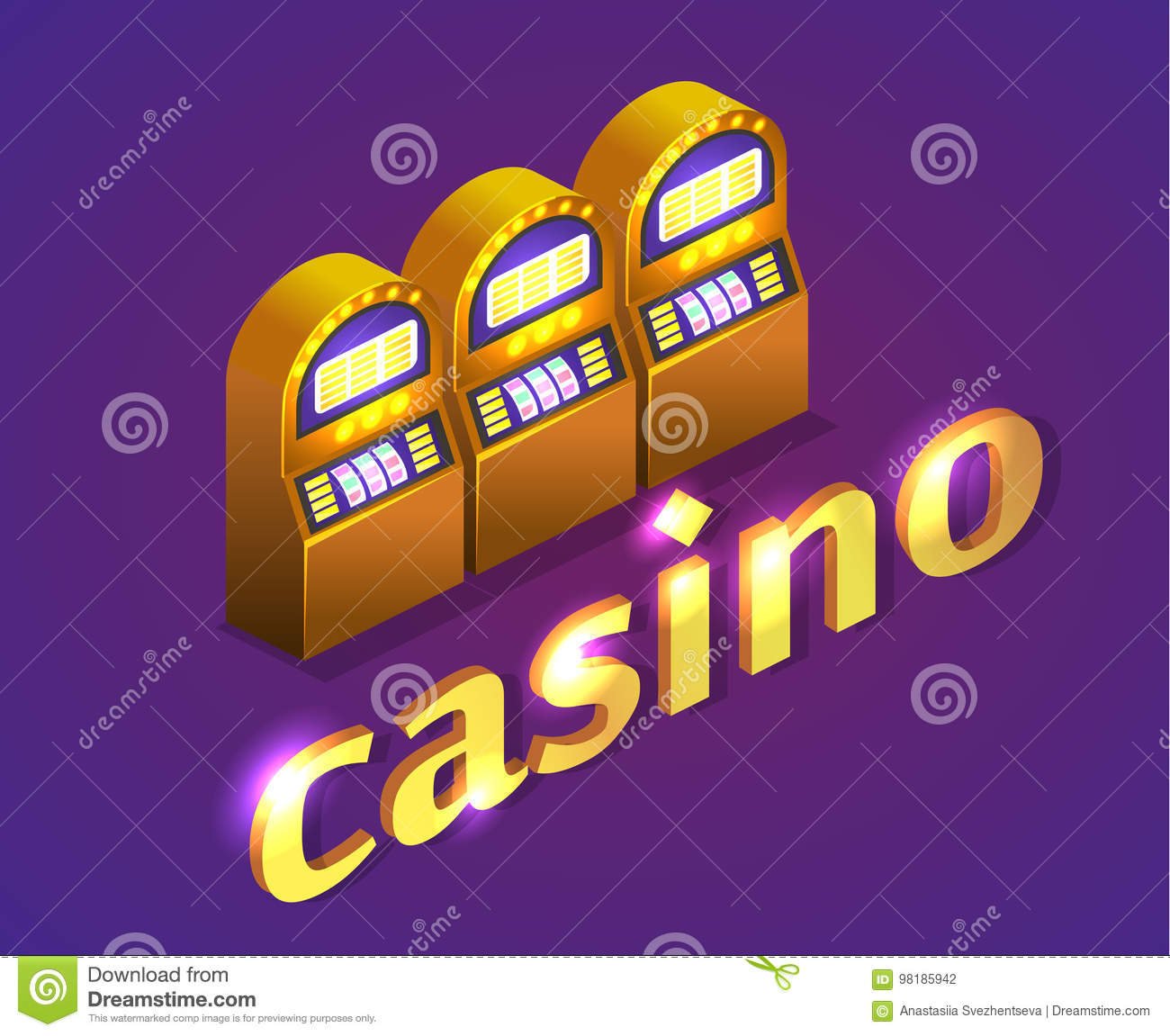 Isometric flat 3D casino. Gold coins