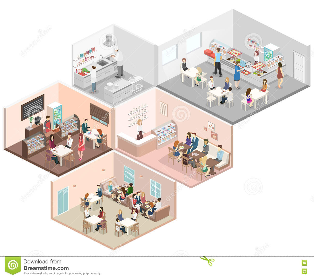 Restaurant Kitchen Illustration isometric flat 3d concept interior cafe, canteen, restaurant