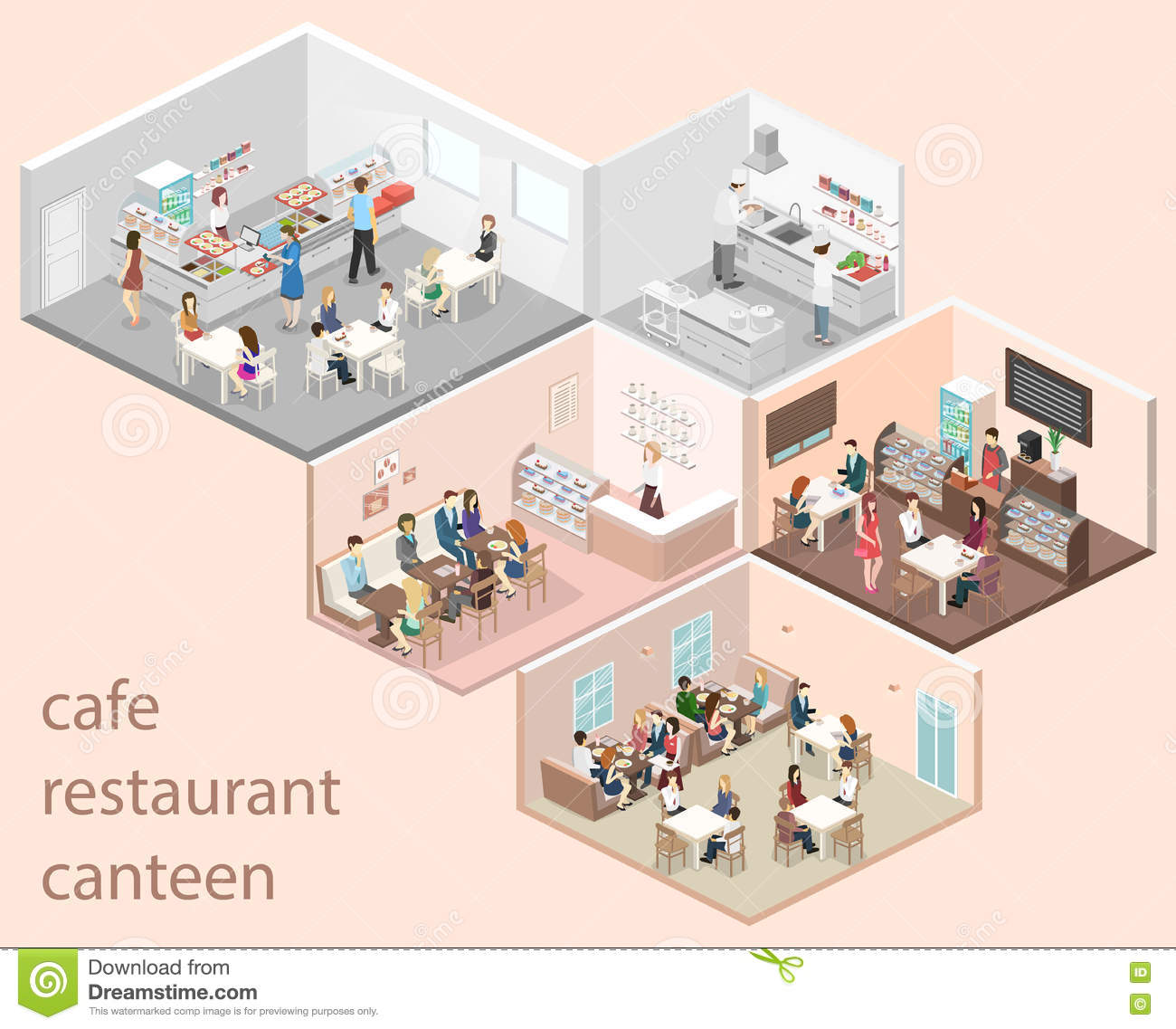 Isometric Flat 3D Concept Interior Cafe Canteen  : isometric flat d concept interior cafe canteen restaurant kitchen sweet shop people sit table eating 82683549 from www.dreamstime.com size 1300 x 1137 jpeg 142kB