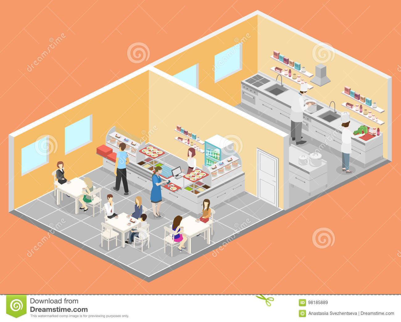 Restaurant Kitchen Illustration isometric flat 3d interior of cafe, canteen and restaurant kitchen