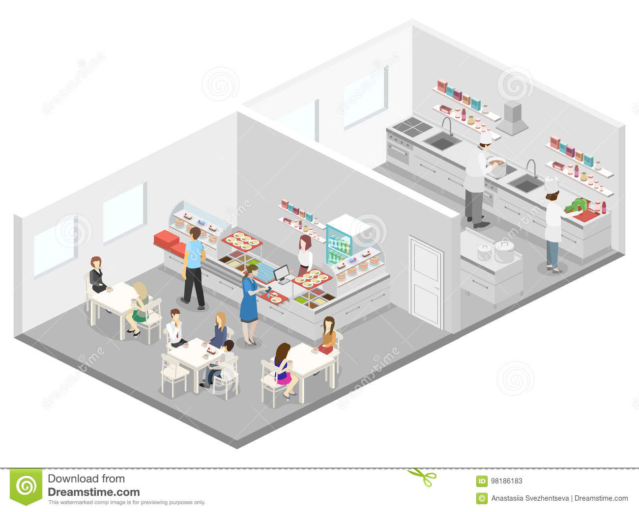 Isometric Flat 3d Interior Of Cafe Canteen And Restaurant Kitchen Stock Illustration Illustration Of Food Isometry 98186183