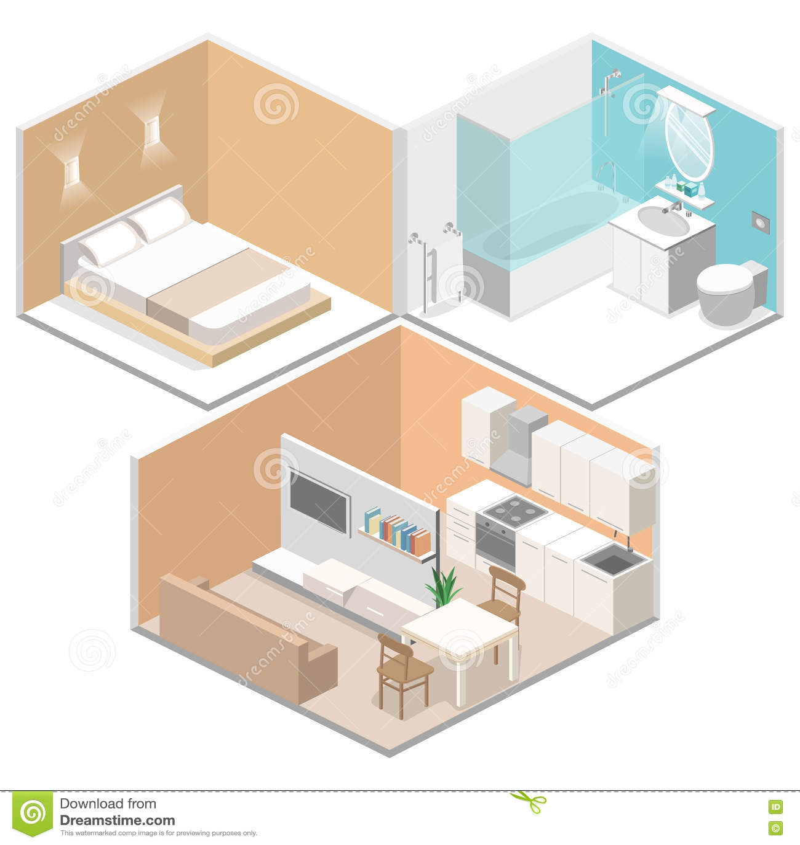 Isometric flat 3d interior kitchen bathroom living room - Living room bedroom bathroom kitchen ...