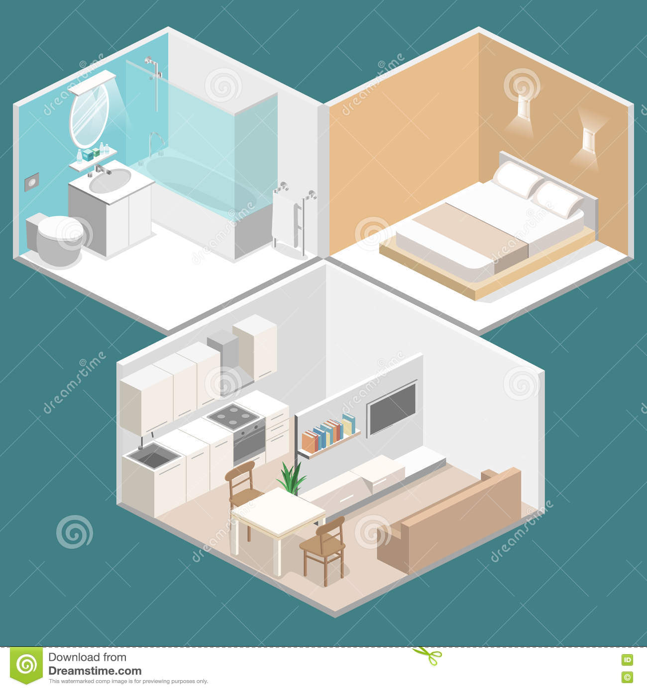 living room bedroom bathroom kitchen isometric home dining room vector illustration 18975